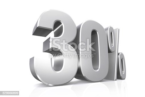 istock 3D render text in 30 percent in silver. 529966899