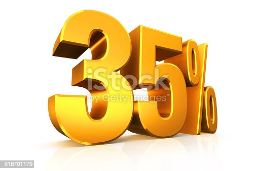 istock 3D render text in 35 percent in gold 518701179
