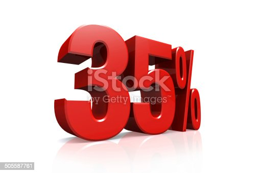 906580458 istock photo 3D render text in 35 percent in red 505587761