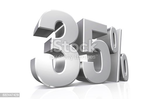 906580458 istock photo 3D render text in 35 percent in silver. 532447429