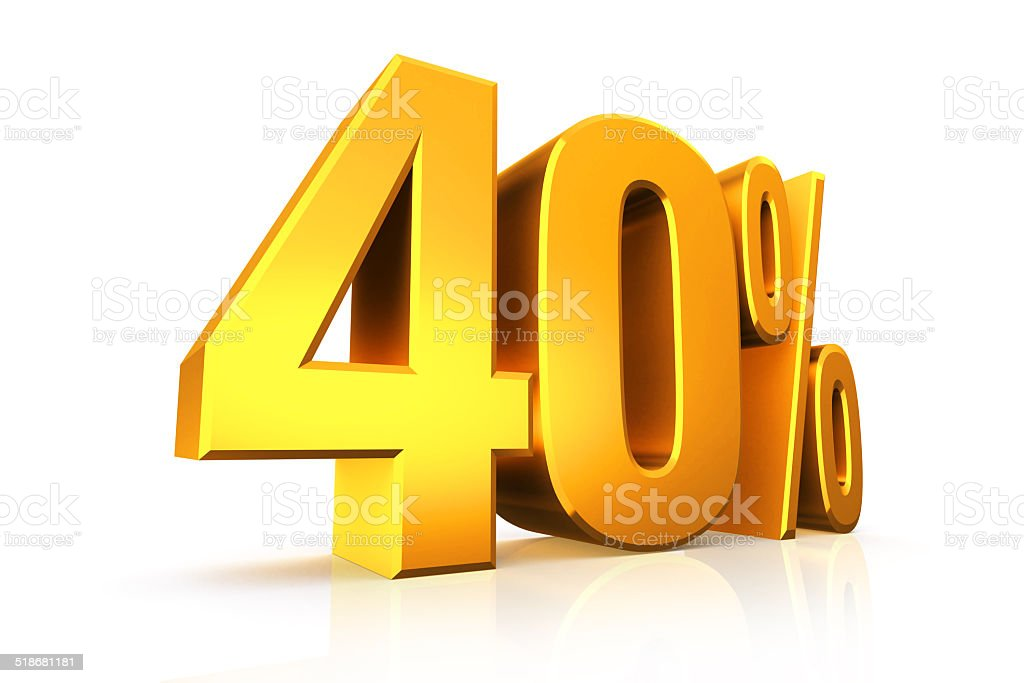 3D render text in 40 percent in gold stock photo