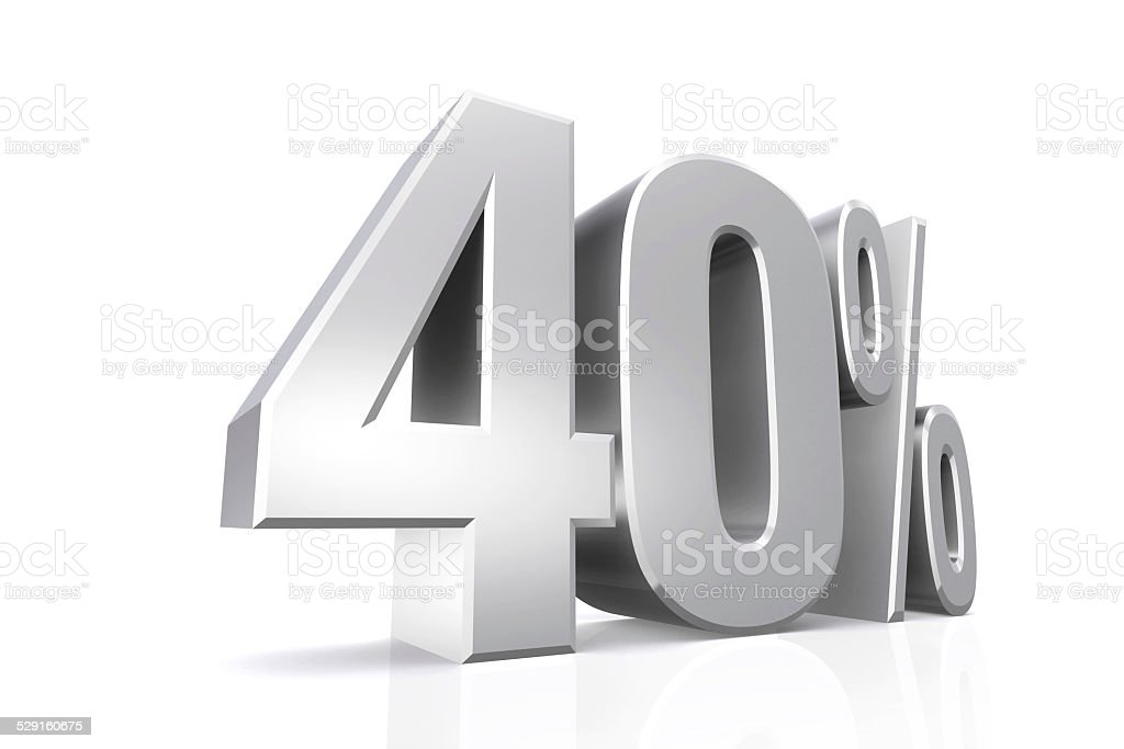 3D render text in 40 percent in silver. stock photo