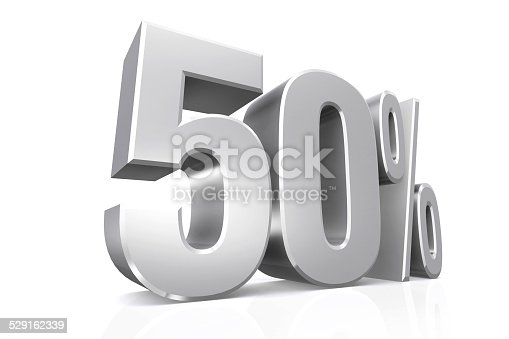 3D render text in 50 percent in silver on white background with reflection.