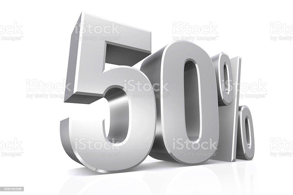 3 D render do texto em 50 por cento em prata. - foto de acervo