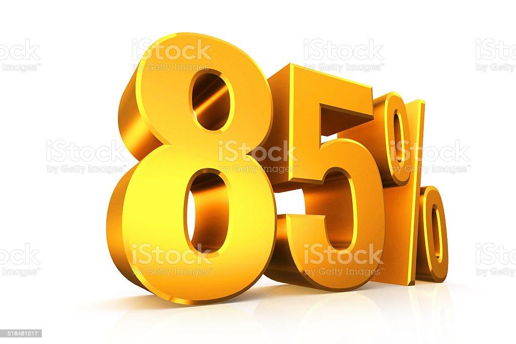 3 D レンダーテキストで 85 %の金 ストックフォト