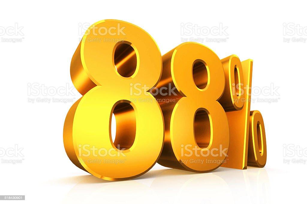3 D レンダーテキストは 88 %の金 ストックフォト
