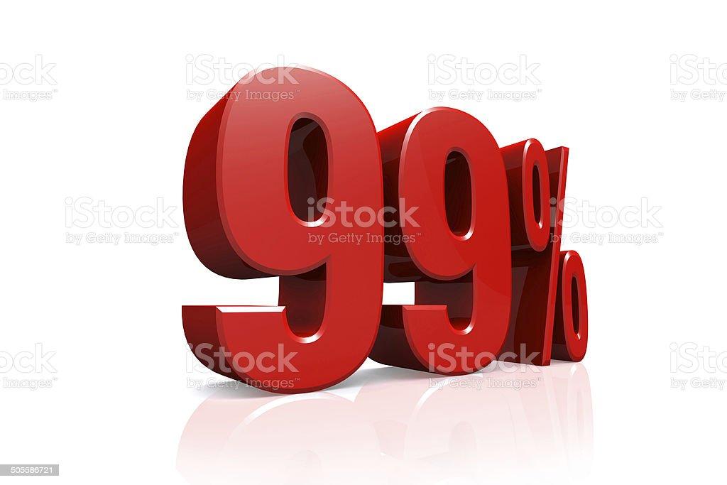 3 D レンダーテキストは 99 %のレッド ストックフォト