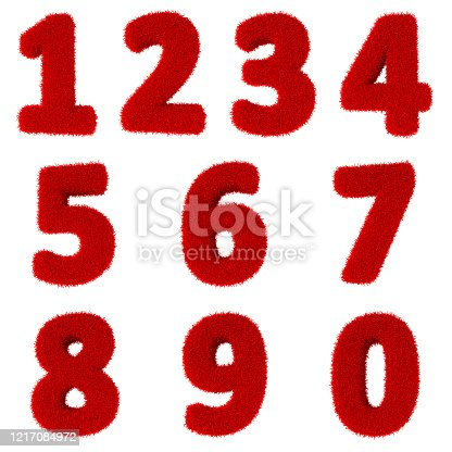 583977832 istock photo 3D render. Three-dimensional letters and numbers made of red grass, isolated on a white background, are intended for creating postcards, posters and inscriptions. 1217084972