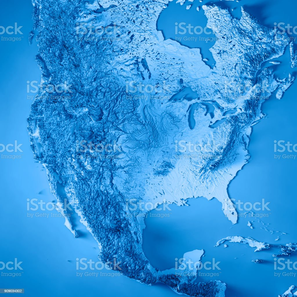 USA 3D Render Topographic Map Blue stock photo