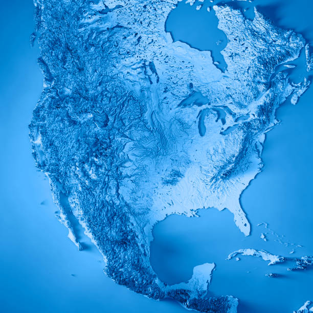 usa 3d render topographic map blue - north america stock photos and pictures