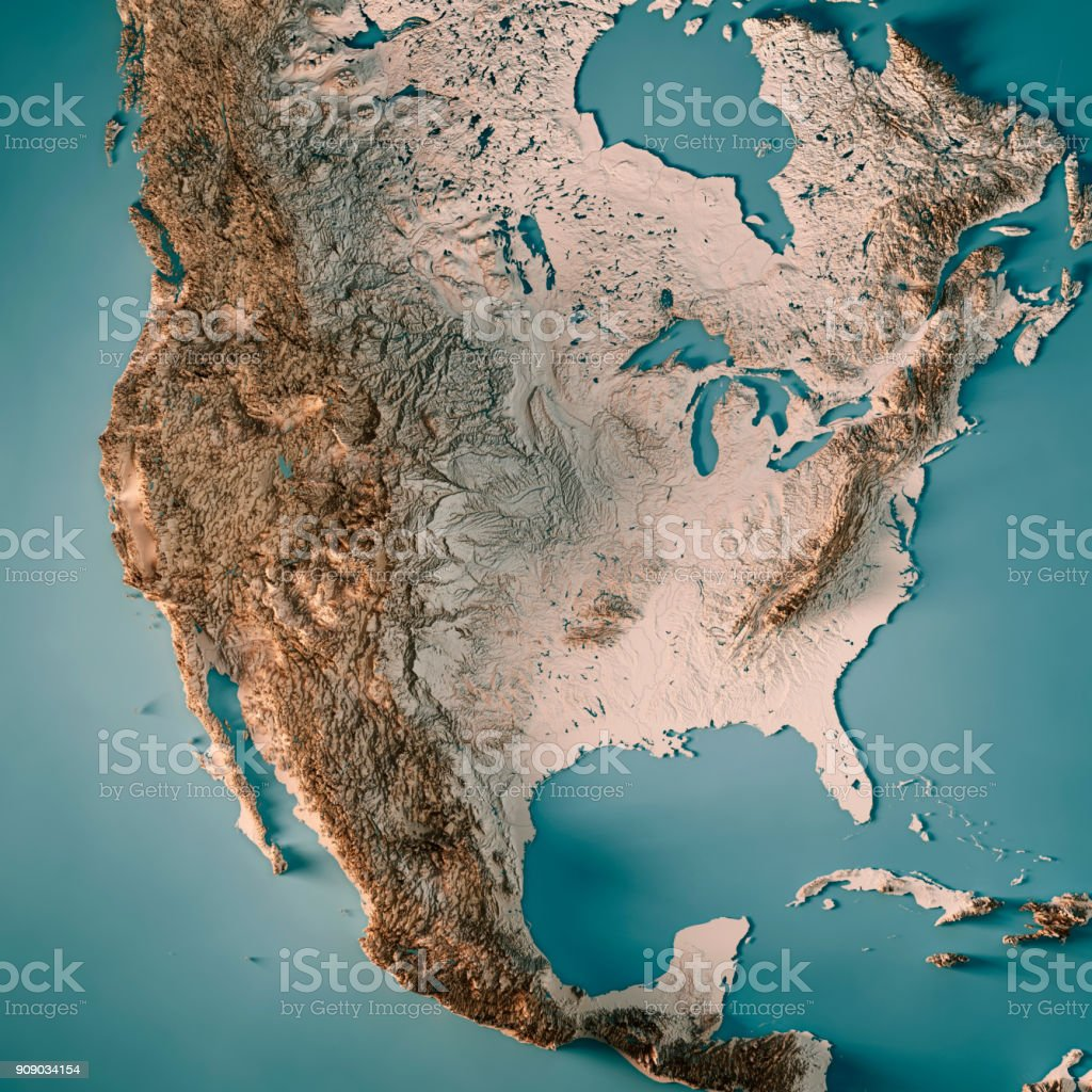 USA 3D Render Topographic Map Neutral stock photo