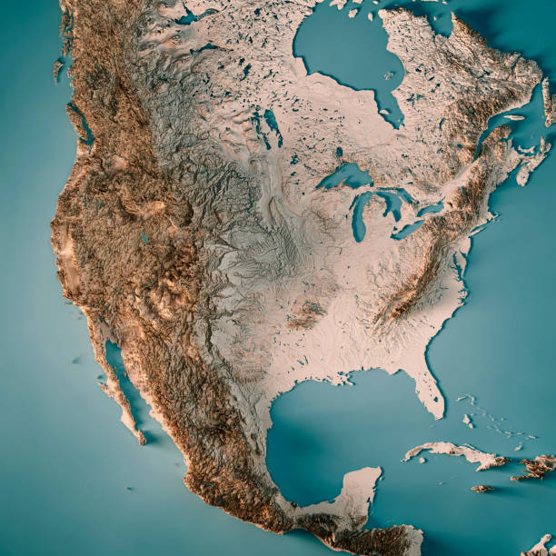 usa 3d render topographic map neutral - north america stock photos and pictures