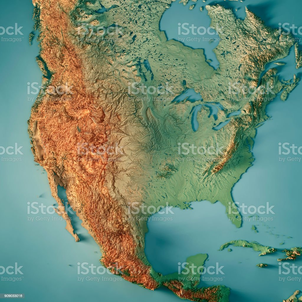 3d Topographic Map Of Usa.Usa 3d Render Topographic Map Stock Photo More Pictures Of Aerial