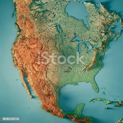 istock USA 3D Render Topographic Map 909033016