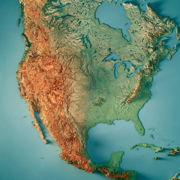 USA 3D Render Topographic Map stock photo