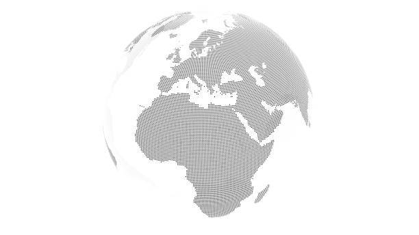 3D render: Transparent earth with landmass made from black dots. Oceans transparent. This view showing Europe and Africa. stock photo