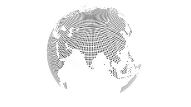 3D render: Transparent earth with landmass made from black dots. Oceans transparent. This view showing Asia. stock photo