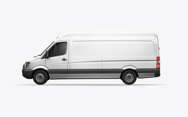 3d-render van auf weißem hintergrund - kastenwagen stock-fotos und bilder