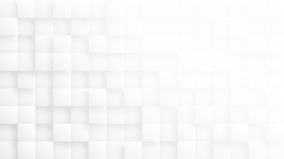 Rendered 3D Blocks Minimalist White Abstract Background. Three Dimensional Science Technologic Tetragonal Blocks Structure Light Conceptual Art Illustration. Clear Blank Subtle Textured Backdrop