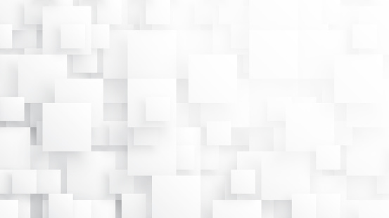 Rendered 3D Different Size Squares Technology Minimalist White Conceptual Abstract Background. Tech Clear Blank Subtle Textured Backdrop. Science Technology Tetragonal Blocks Structure Light Wallpaper