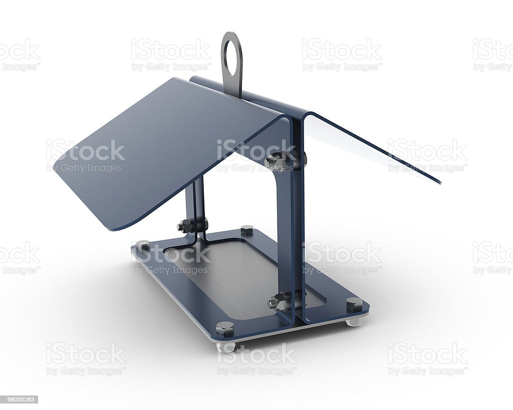 Rendered 3D metal scientific birdhouse royalty-free stock photo