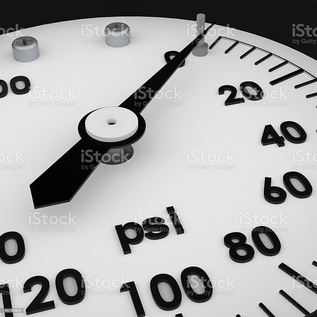 Rendered 3D pressure gauge in black and white royalty-free stock photo