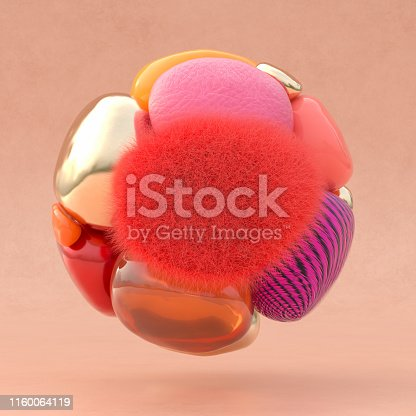 3D rendering of a ball out of abstract shapes with the color of the year 2019 living coral
