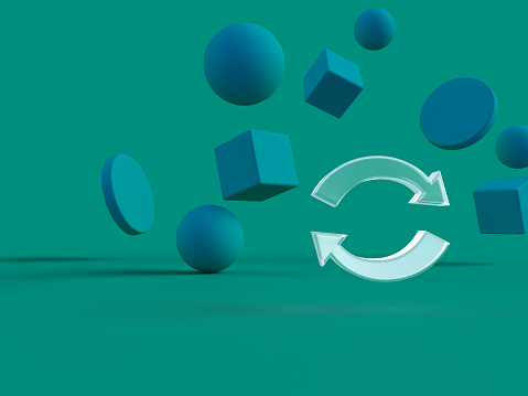 3D rendered arrowed circle on a green background with different minimalistic shapes. Illustration of recycling materials, green awareness, and restart. Visualization of abstract environments.