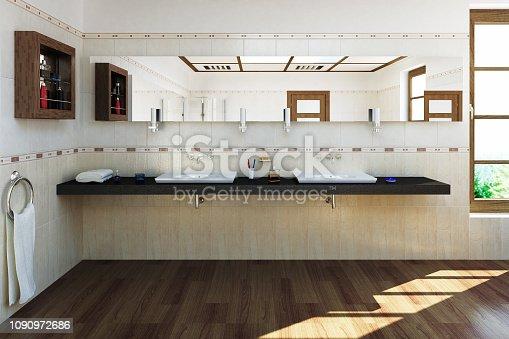 istock 3D rendered bath room 1090972686