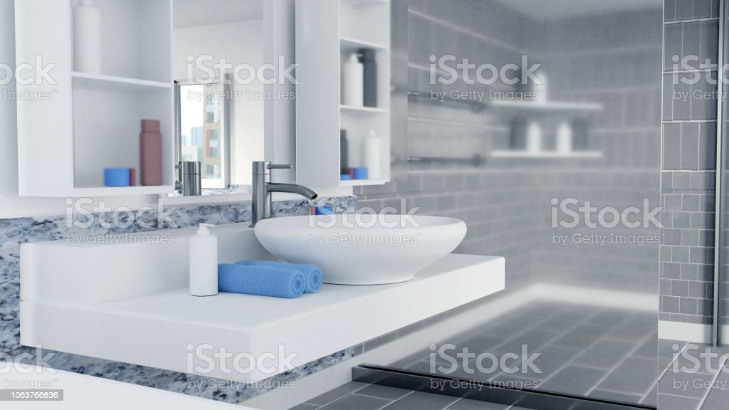 3d Rendered Bathroom Interior Design With Blue Towels Stock Photo Download Image Now Istock