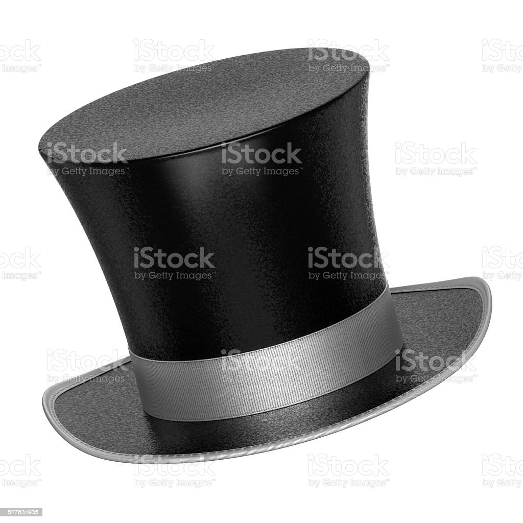 3D rendered black decoration top hat with silver ribbon stock photo