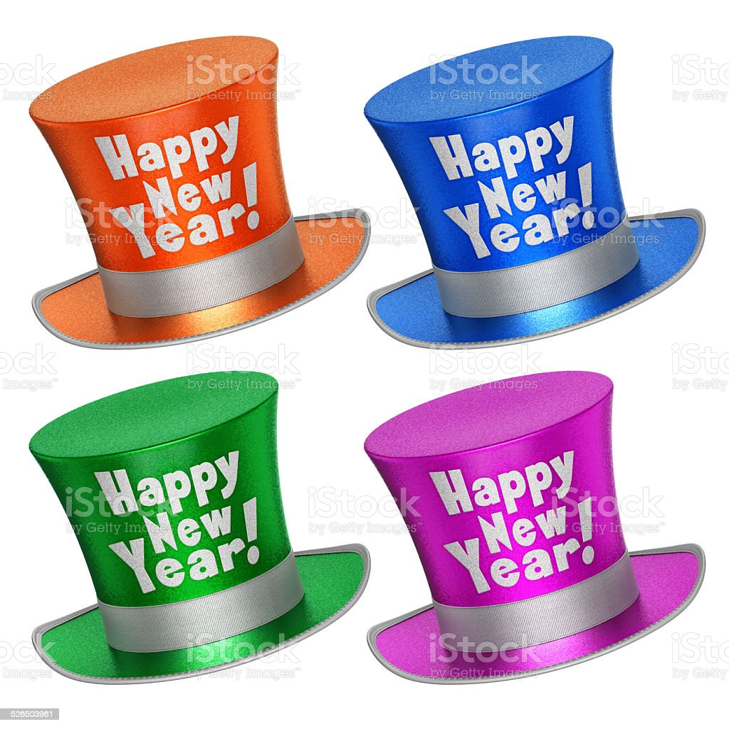 3D rendered collection of colorful Happy New Year top hats stock photo