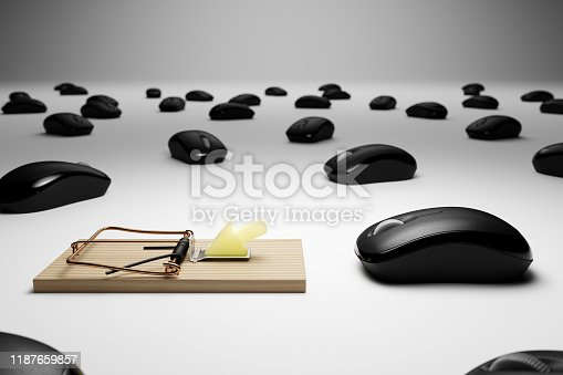istock 3D Rendered Computer Mice and Mousetrap Conceptual Clickbait Image 1187659857