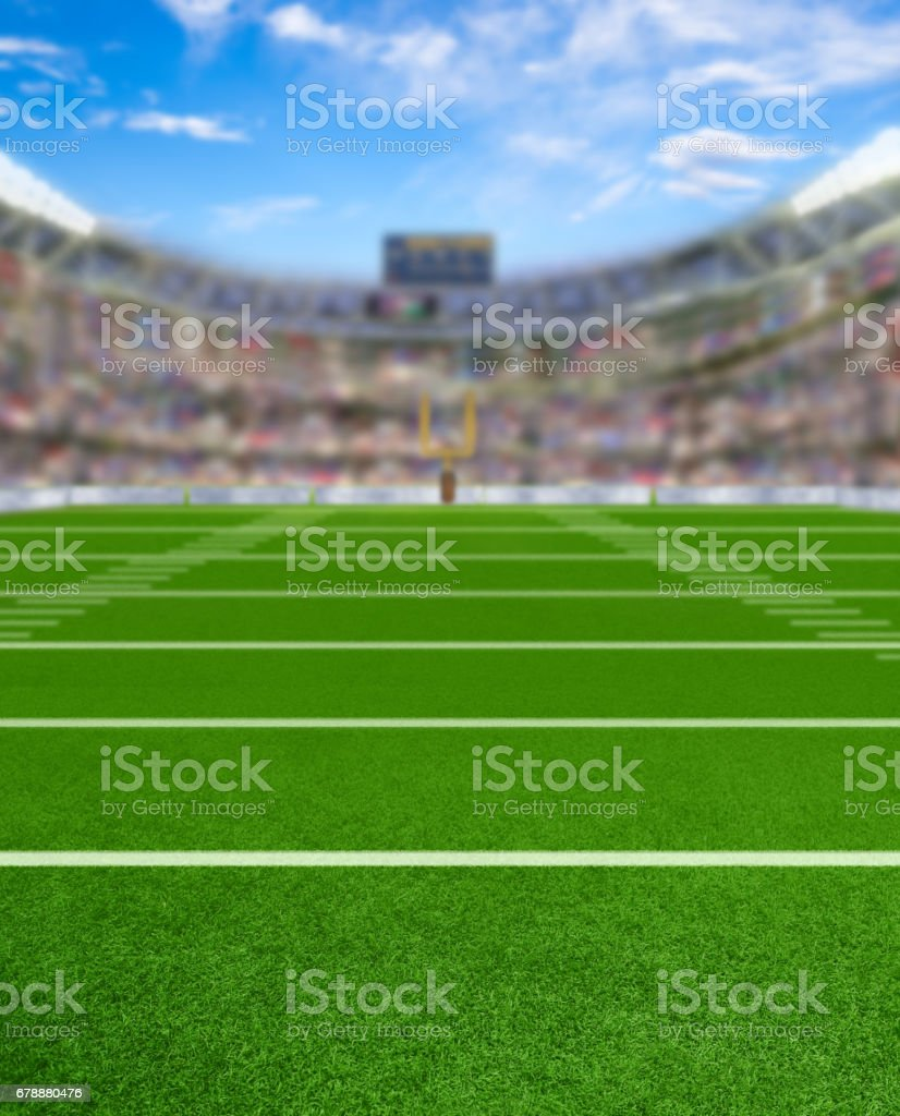 3D Rendered Football Stadium With Copy Space stock photo
