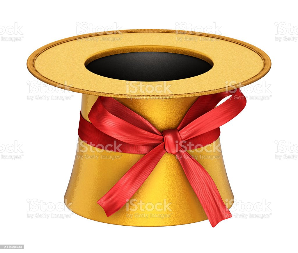3D rendered golden decoration top hat with red ribbon stock photo