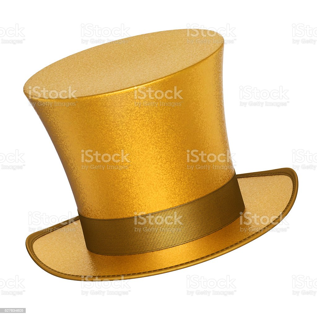 3D rendered golden decoration top hat with silver ribbon stock photo
