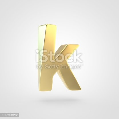 133379665 istock photo 3D rendered golden letter K lowercase isolated on white background. 917895288
