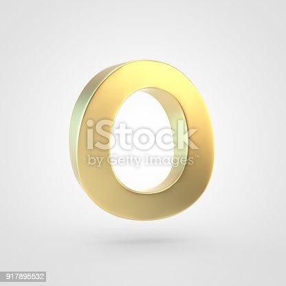 964199358istockphoto 3D rendered golden letter O uppercase isolated on white background. 917895532