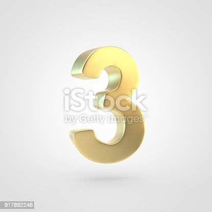 133379665 istock photo 3D rendered golden number 3 isolated on white background. 917892246
