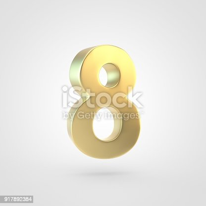 133379665 istock photo 3D rendered golden number 8 isolated on white background. 917892384