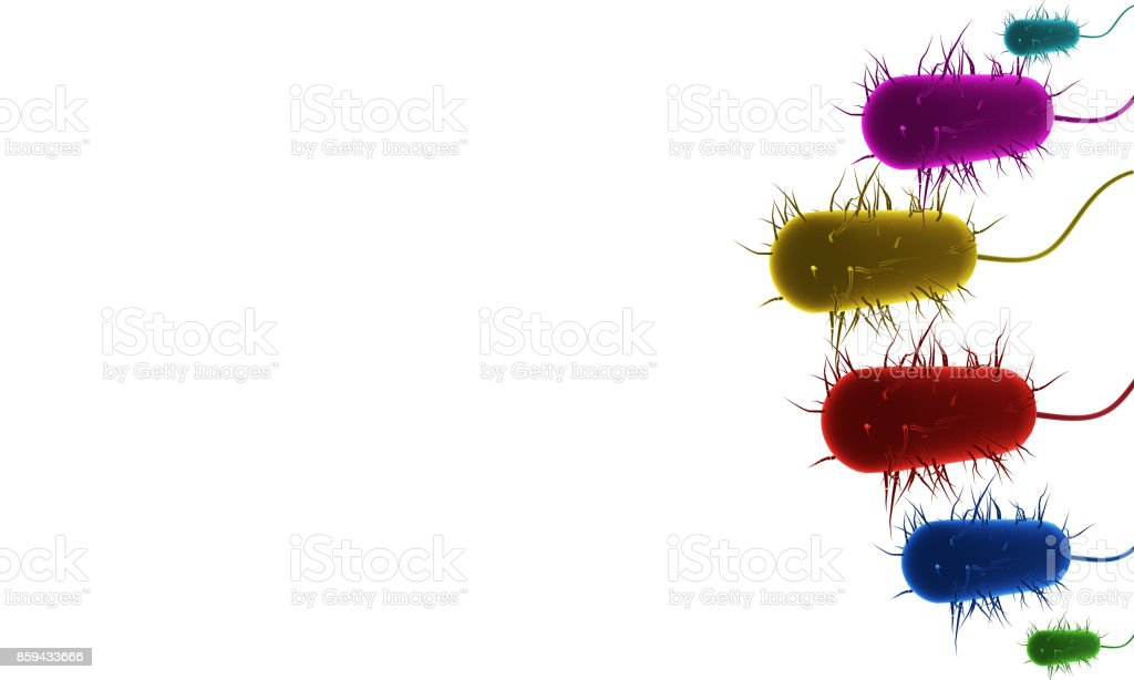 3D rendered group of colorful bacteria stock photo
