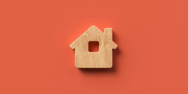 3D rendered house symbol on colorful background stock photo