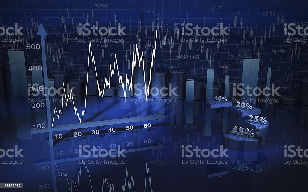 Rendered illustration of a business finance chart royalty-free stock photo