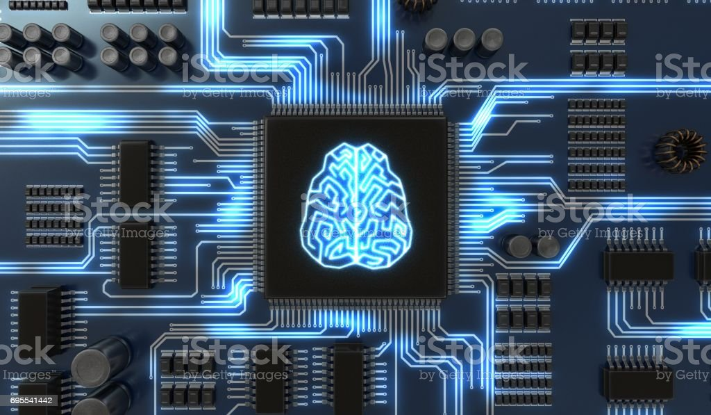 3D rendered illustration of artificial intelligence electronic circuit. Microchip with glowing brain. stock photo