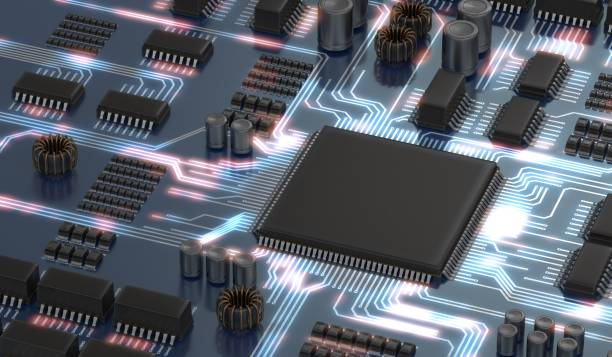 3d rendered illustration of electronical circuit with microchip or processor and glowing signals. technology concept. - mother board stock photos and pictures
