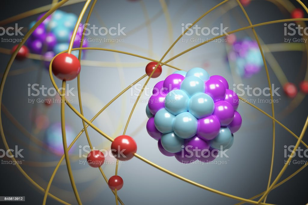3D rendered illustration of elementary particles in atom. Physics concept. stock photo