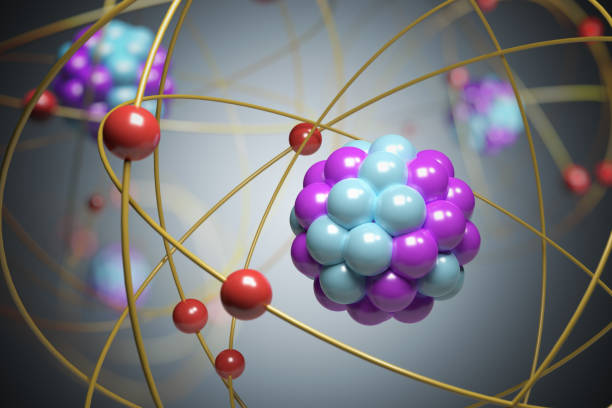 3d rendered illustration of elementary particles in atom. physics concept. - atom zdjęcia i obrazy z banku zdjęć