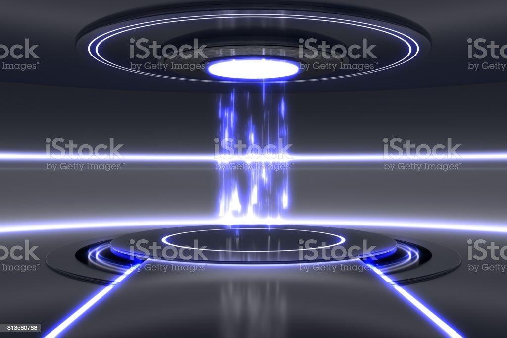 3D rendered illustration of futuristic teleportation station. stock photo