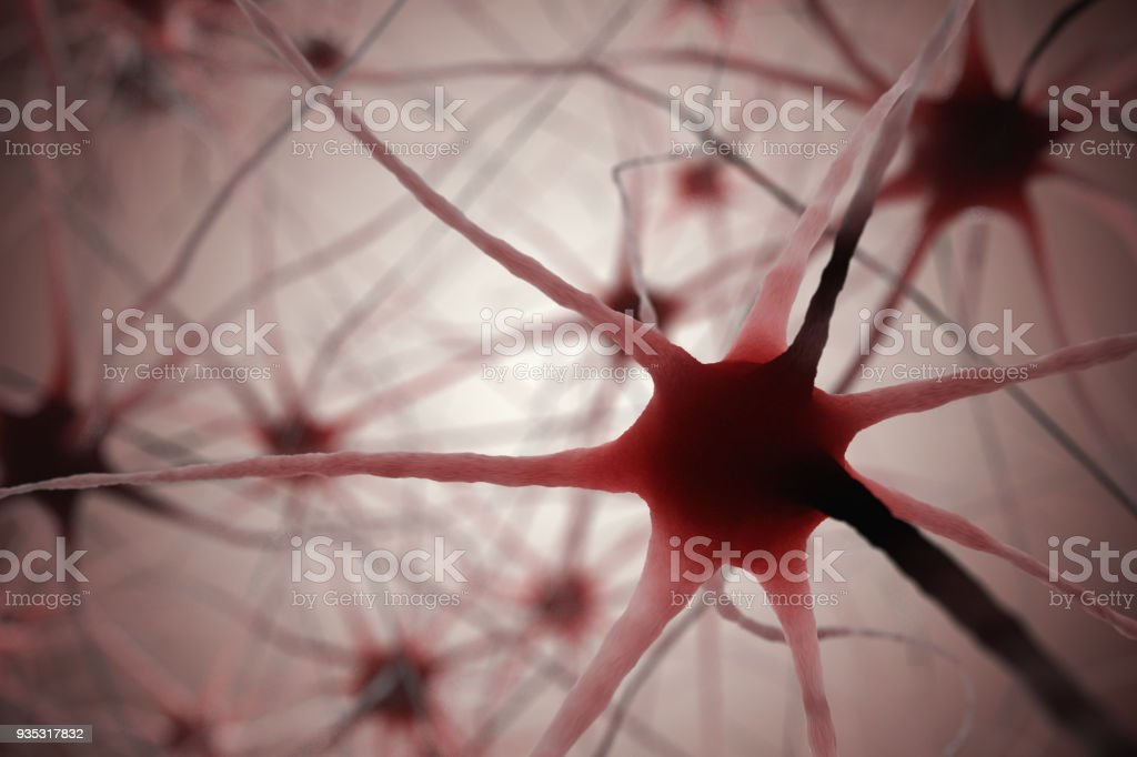 3D rendered illustration of neurons in brain. stock photo
