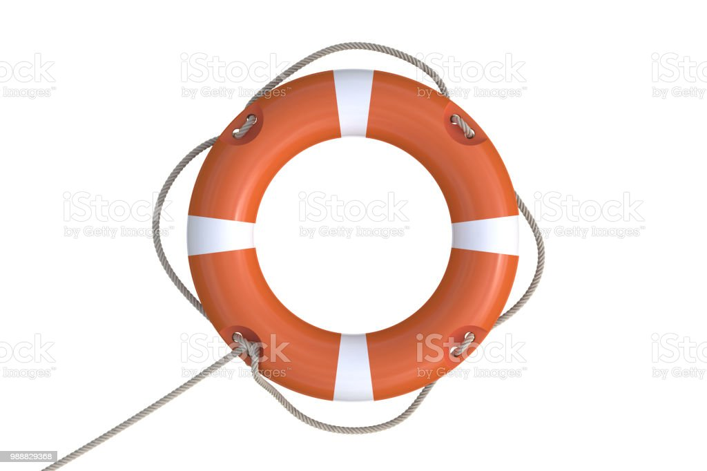 3D rendered illustration of red life buoy. Isolated on white background. stock photo